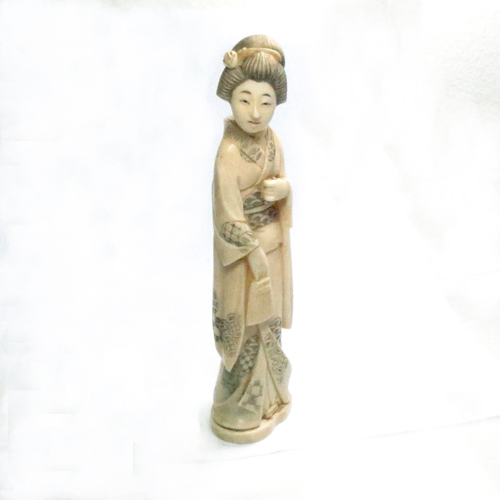 Japanese Geisha Figurine Hand Carved Bone Antique 6 75