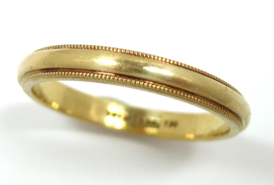 18k Gold Wedding Band Ring Tiffany Co Milgrain 3mm 9